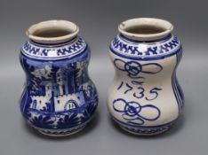 Two 18th century-style Dutch drug jars