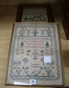 An early 19th century embroidered sampler, worked by Rebecca Crick 1828, 37 x 29cm, together with