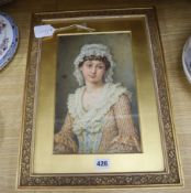 "Agnes R Nicholl, watercolour, ""Clarissa"", signed, with artist label verso, 30 x 19cm"