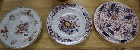 Four Spode or Copeland and Garrett Imari pattern plates and one other