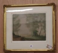 William Tatton Winter (1855-1928), landscape with sheep and haystacks, signed, watercolour, 24 x