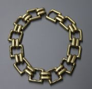 A yellow metal square link bracelet, approximately 19.5cm.