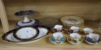 A set of six Worcester blush plates, German tea set and mixed ceramics
