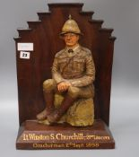 A 20th century commemorative plaque of Lt Winston Churchill 21st Lancers 2nd September1898 height