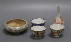 Three Chinese porcelain cups, a crackle glaze censer and a Chinese bottle vase
