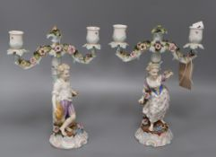 A pair of Continental porcelain figural candlesticks height 28cm