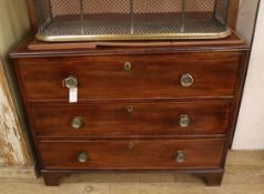 A Regency mahogany three drawer chest W.100cm