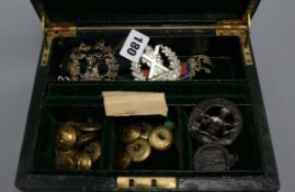 A quantity of Cameron Highlanders gilt brass buttons, various medal ribbons, an HAC pendant, etc.