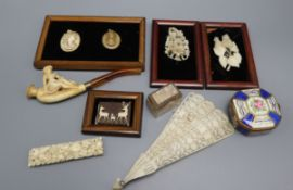 Two framed lava cameos, ivory brooches, ivory brise fan, meerschaum pipe etc.