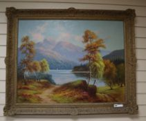 Norman Bagely Wilson, oil on canvas, Loch scene, signed, 70 x 90cm