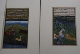 Three Japanese woodblock prints, Landscapes and seated geisha and two Indian gouache hunting scenes,