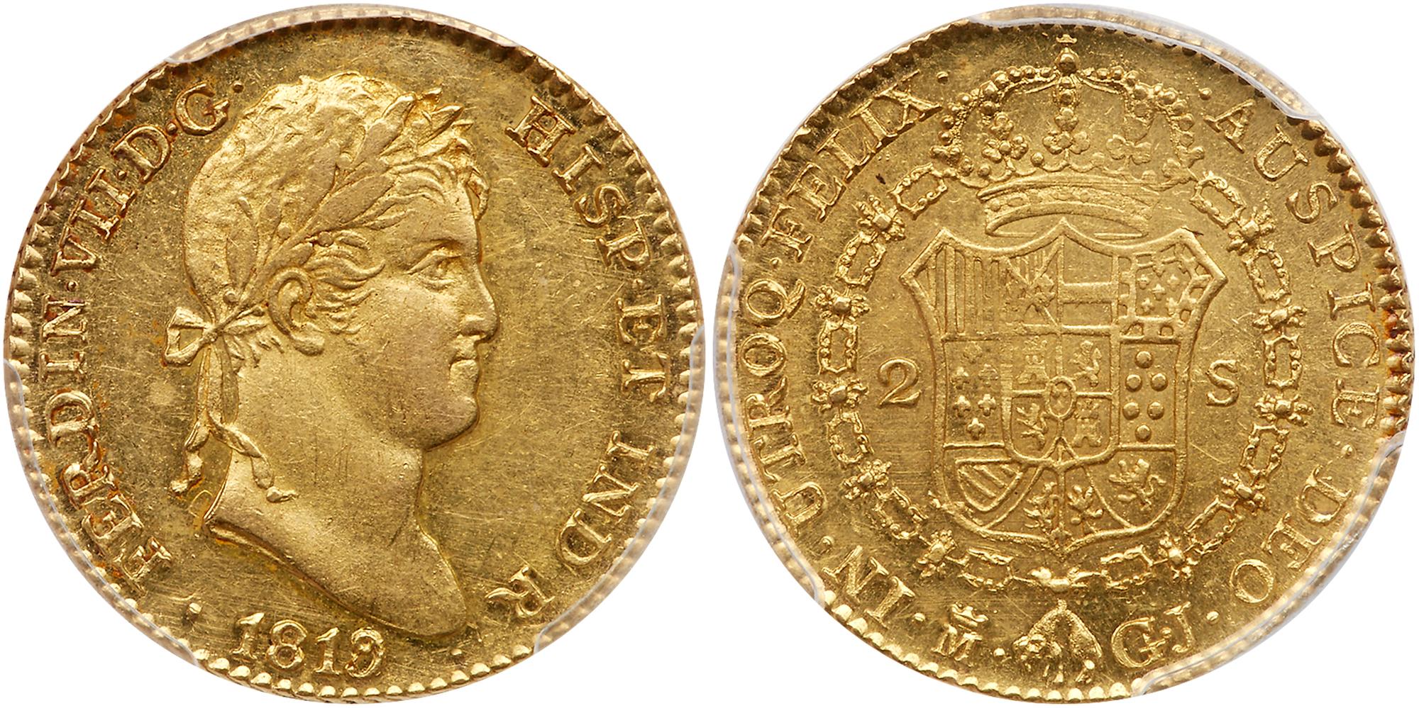 Lot 1894 - Spain. 2 Escudos, 1819-M GJ (Madrid). PCGS MS62