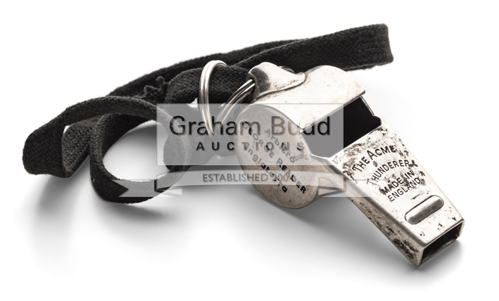 Lot 1130 - A 1950 Football World Cup Final whistle used by referee George Reader,