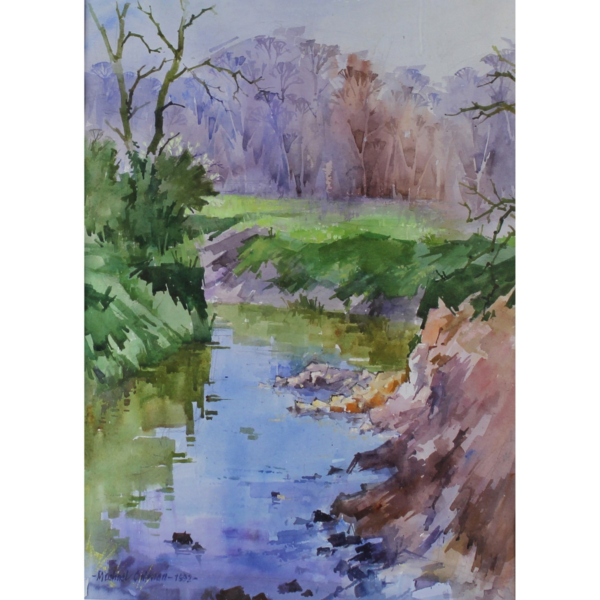 Lot 56 - Cadman, Michael Lawrence 1920-2010 British AR, Crossing the Stream.