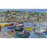 Lot 26 - Weir, Linda Mary b1951 British AR, High Tide early Summer, St Ives Harbour.