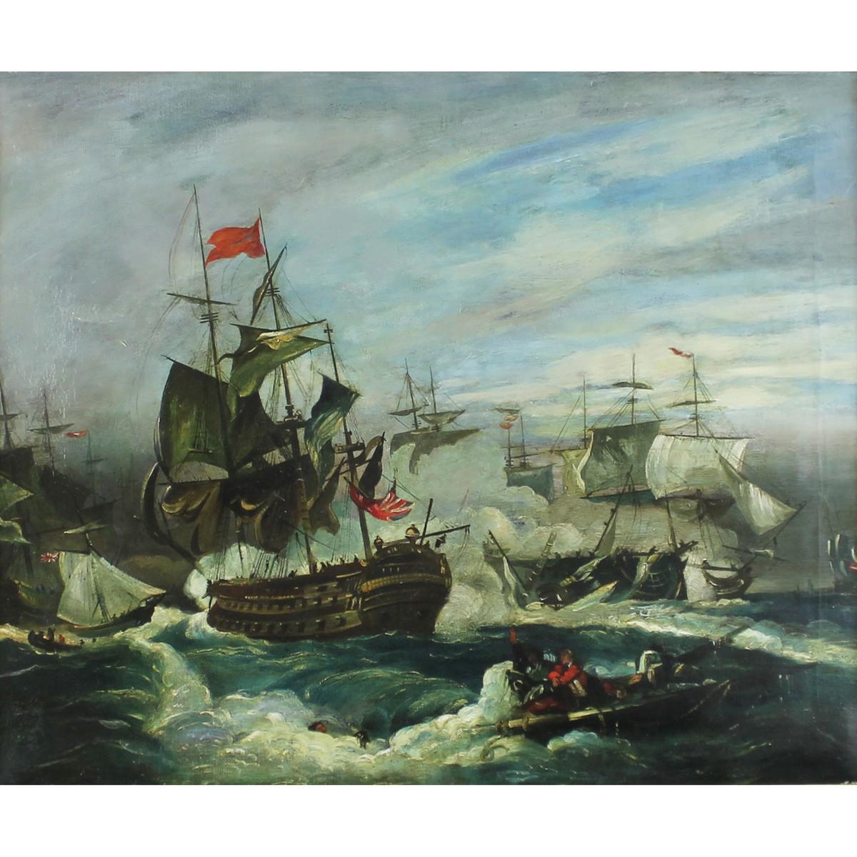 Lot 35 - Early 19th century Naval Battle Maritime scene.