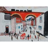 Lot 30 - Yates, Fred 1922-2008 British AR, The Viaduct, Redruth, with a passing Train and Figures below.
