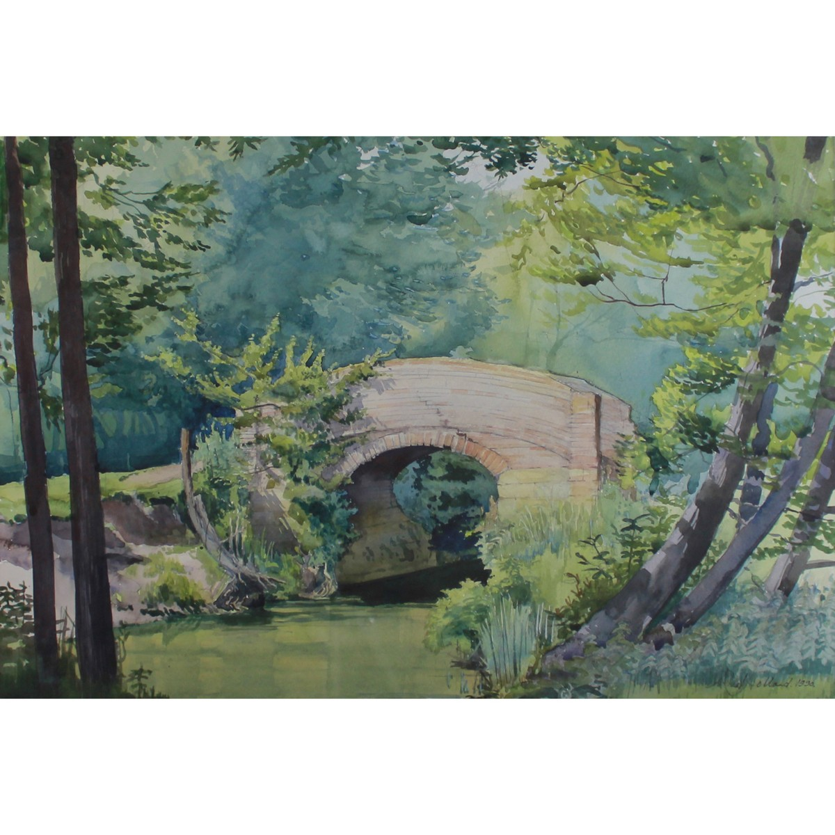 Lot 27 - Holland, Neal Contemporary British AR, Old Cattle Bridge over the Rother near Sutton