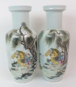 Lot 50 - A PAIR OF CHINESE PORCELAIN VASES painted with fishermen beneath willow trees and surrounded by
