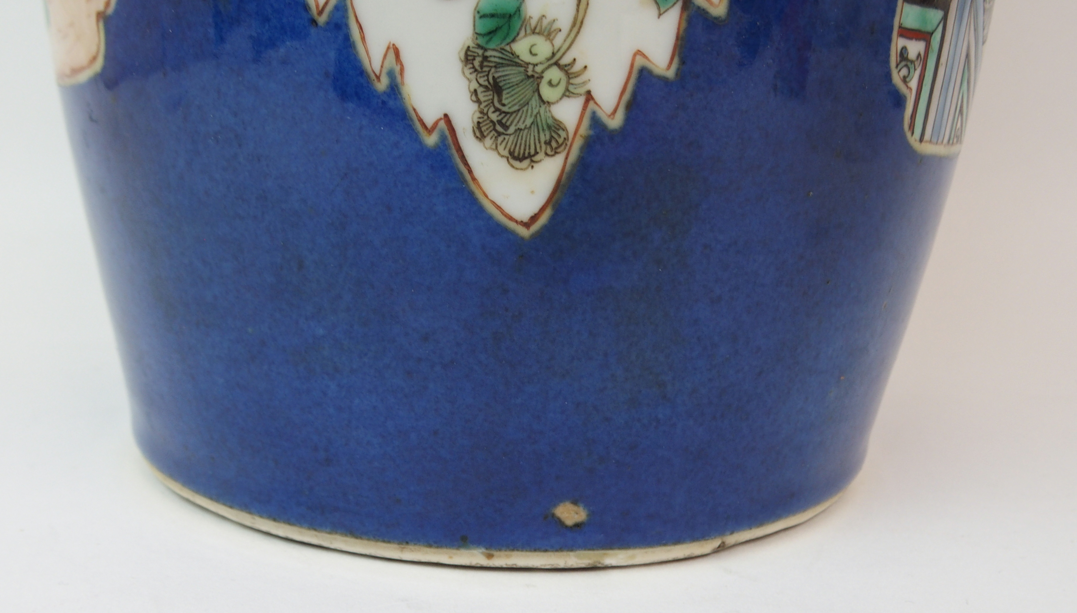 Lot 33 - A CHINESE ROULEAU BLUE GROUND VASE with famille verte panels of court, landscape, birds, flowers and