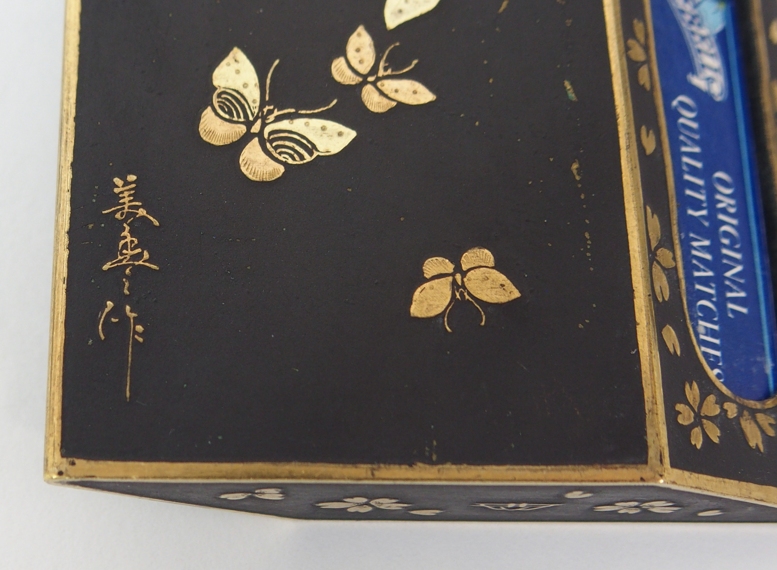 Lot 17 - A JAPANESE NIELLO CIGARETTE CASE 'In Memory of the World Wide War', 9cm wide, another with bird
