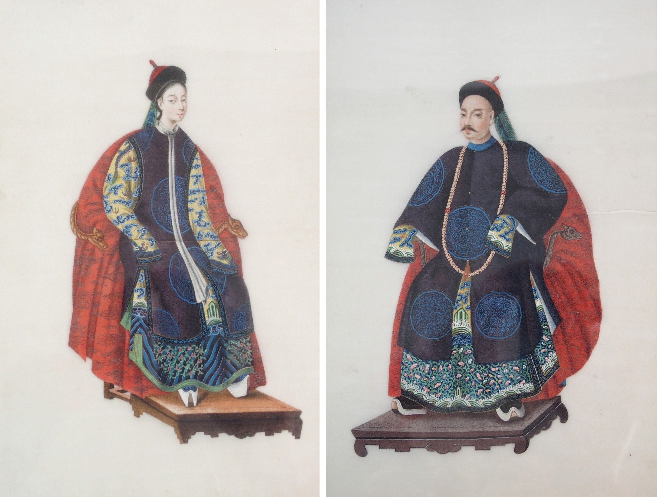 Lot 43 - A PAIR OF CHINESE ANCESTOR PORTRAITS OF A MANDARIN AND CONSORT each seated on a throne and wearing