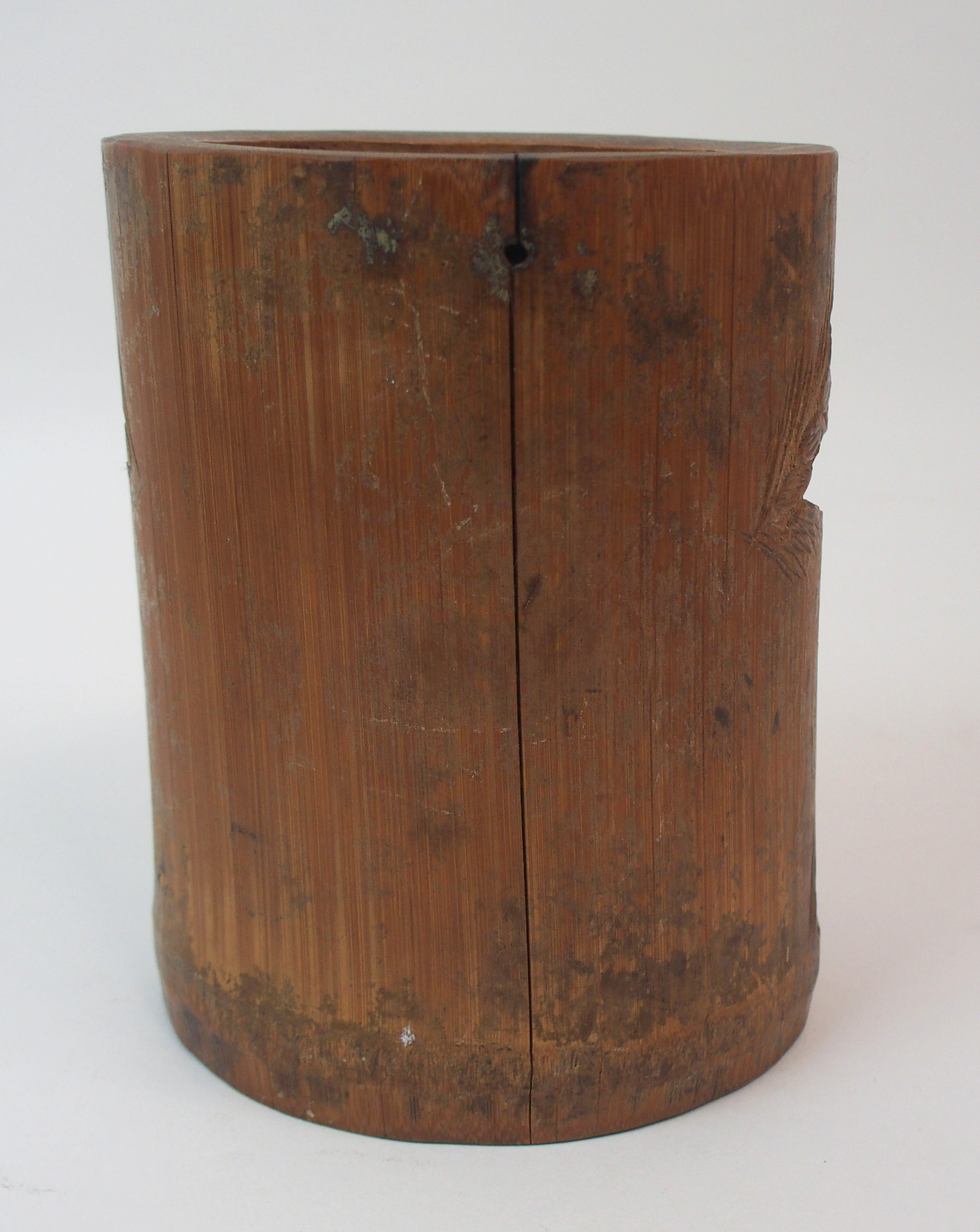 Lot 11 - A CHINESE HARDWOOD RECTANGULAR LOW STAND carved as faux bamboo, 33cm wide x 25cm deep x 12cm high