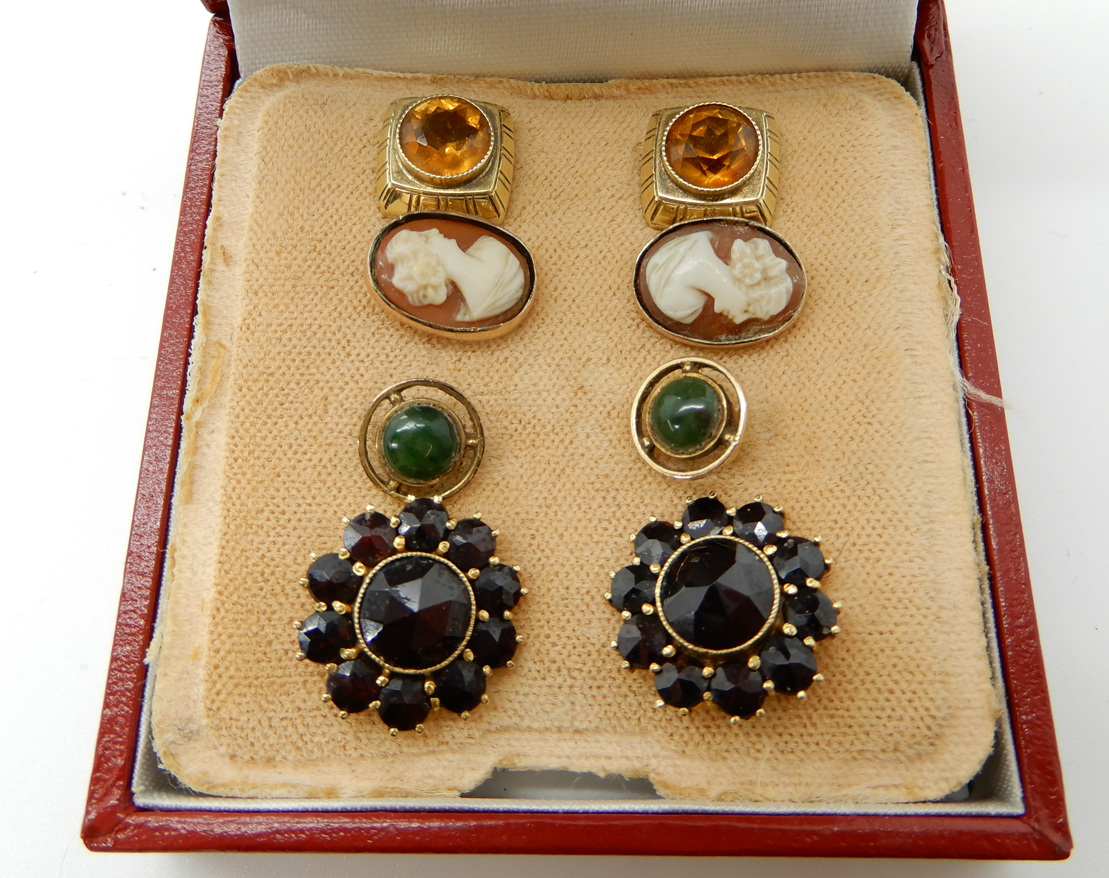 Lot 36 - A pair of bright yellow metal garnet cluster earrings and a selection of others weight approx 9.6gms