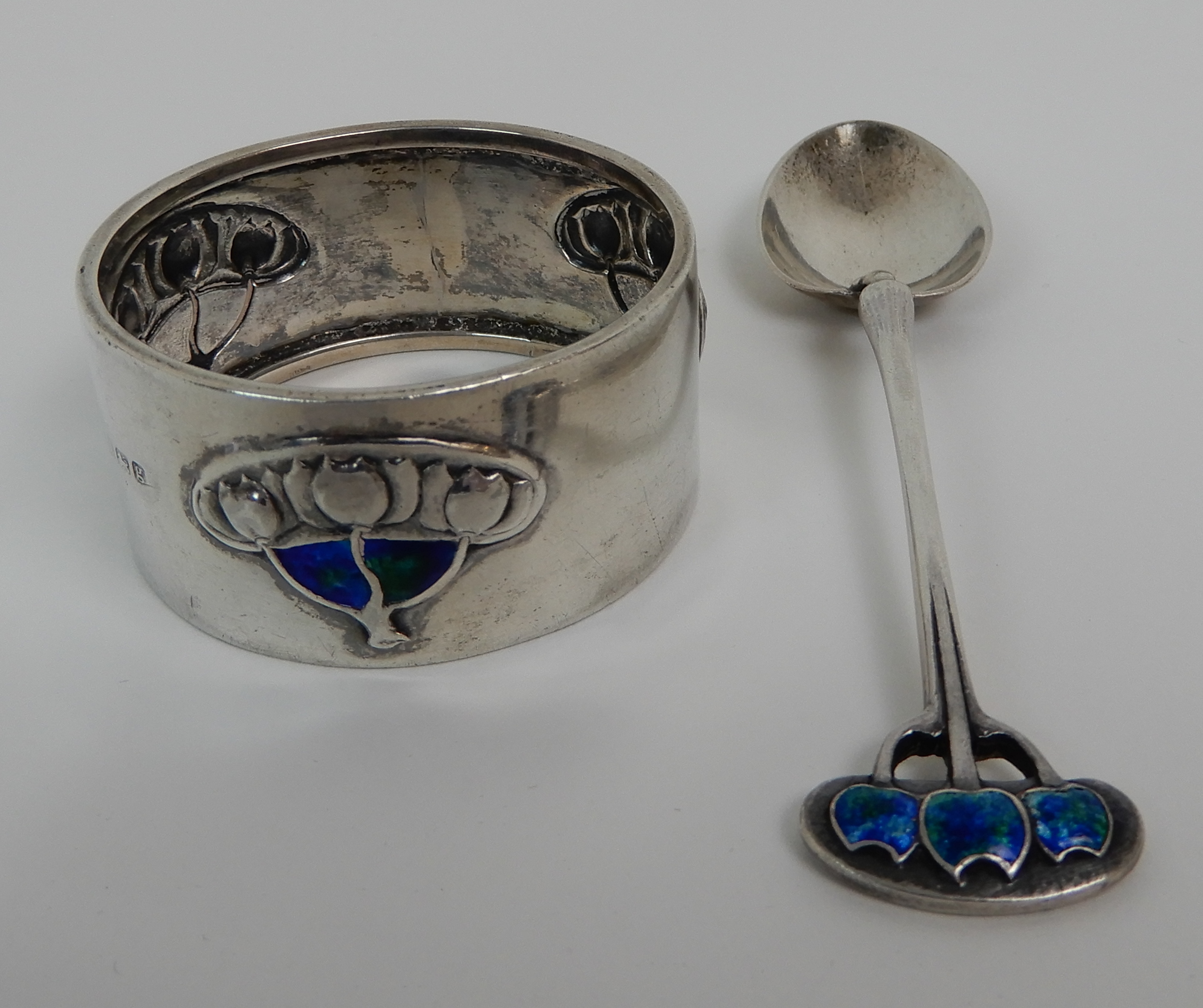 Lot 159 - A CASED TWO PIECE ART NOUVEAU SILVER CHRISTENING SET by Liberty & Company, Birmingham 1906 and