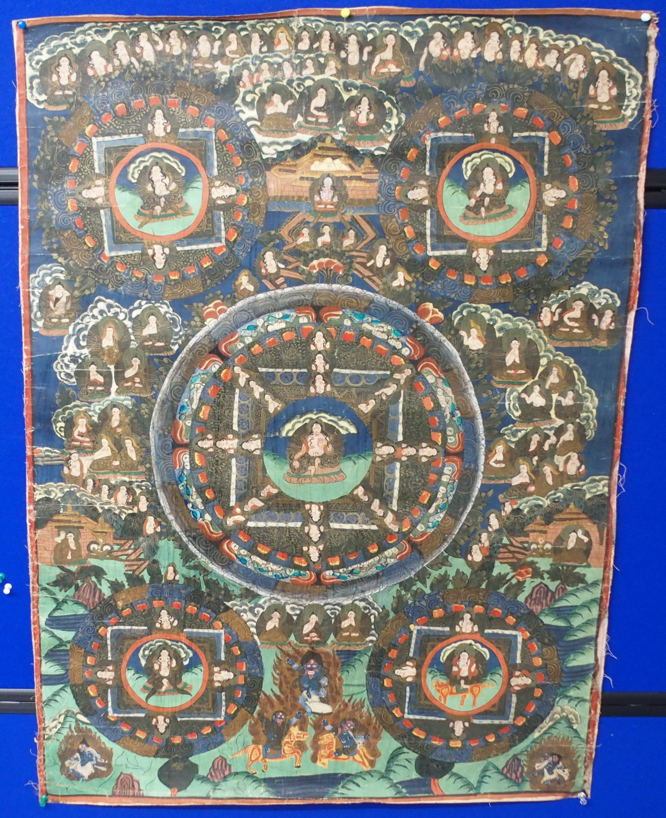 Lot 64 - THREE TIBETAN MANDALA THANGKAS in enamel colours on canvas , 92 x 68cm, 60 x 47cm and 48 x 37cm (