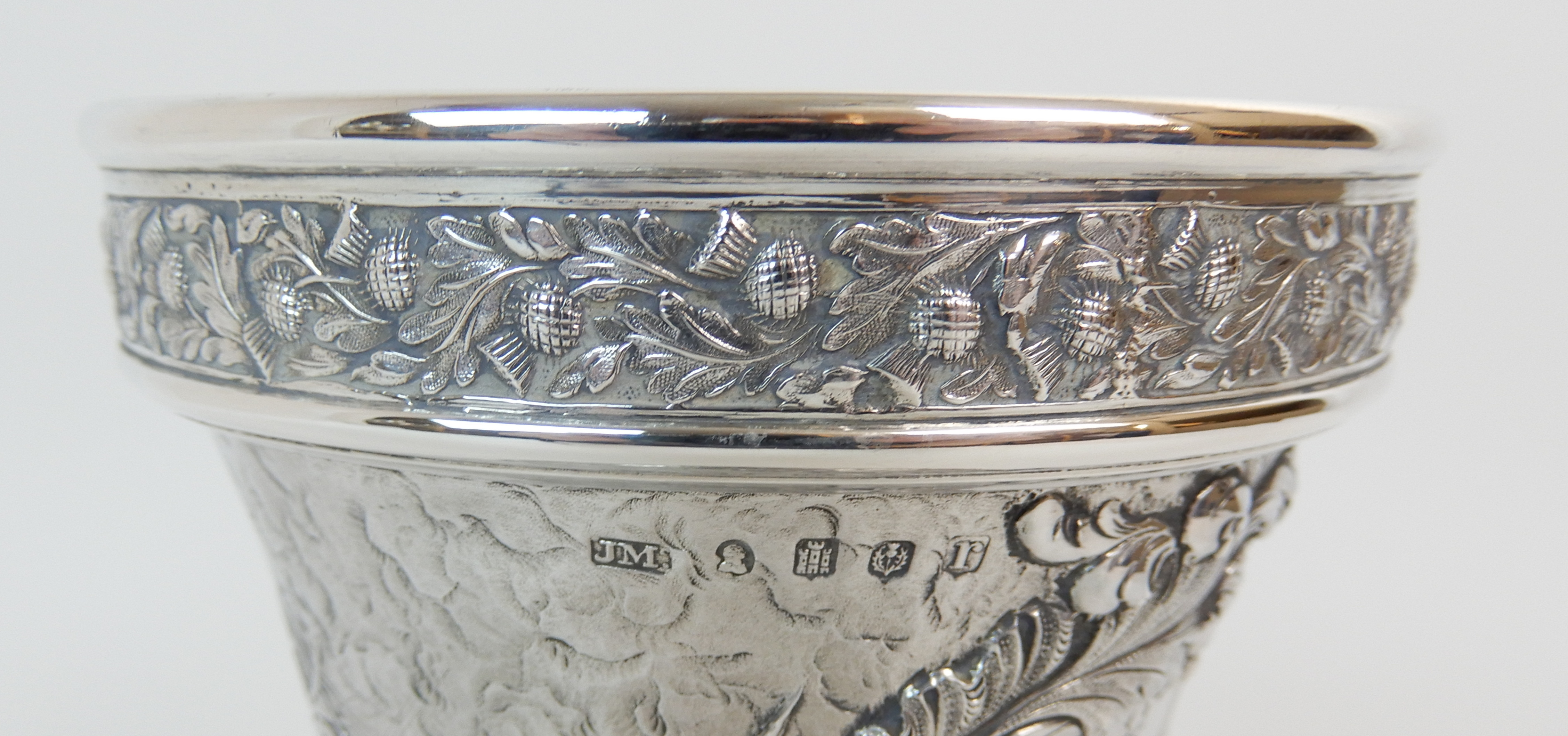 Lot 141 - A GEORGE IV SILVER GOBLET probably by Jonathan Millidge, Edinburgh 1823 of campagna shape, the rim