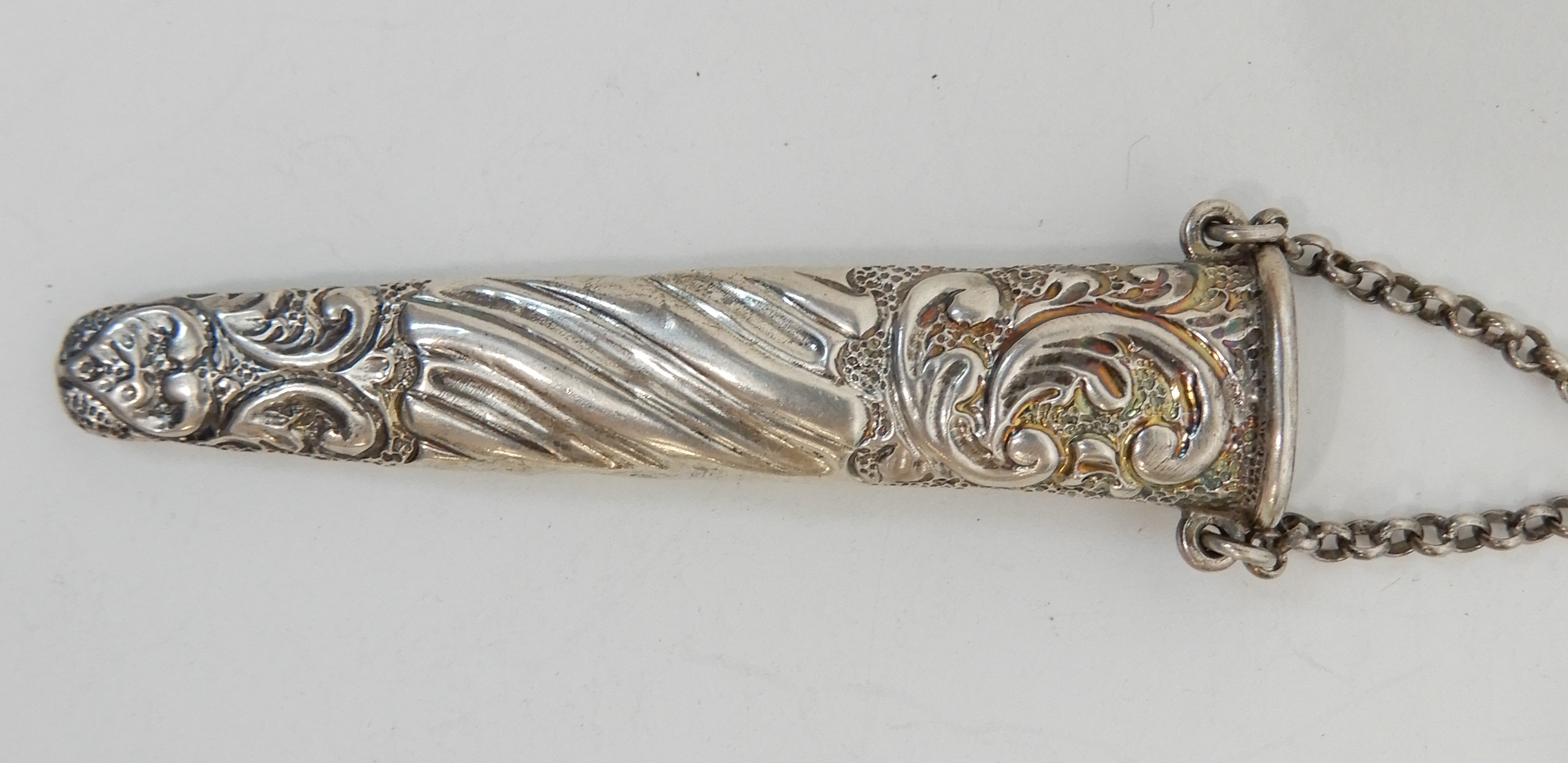 Lot 151 - A SILVER CHATELAINE no hallmark but maker's mark for Julius Rosenthal and Samuel Jacob, of classic