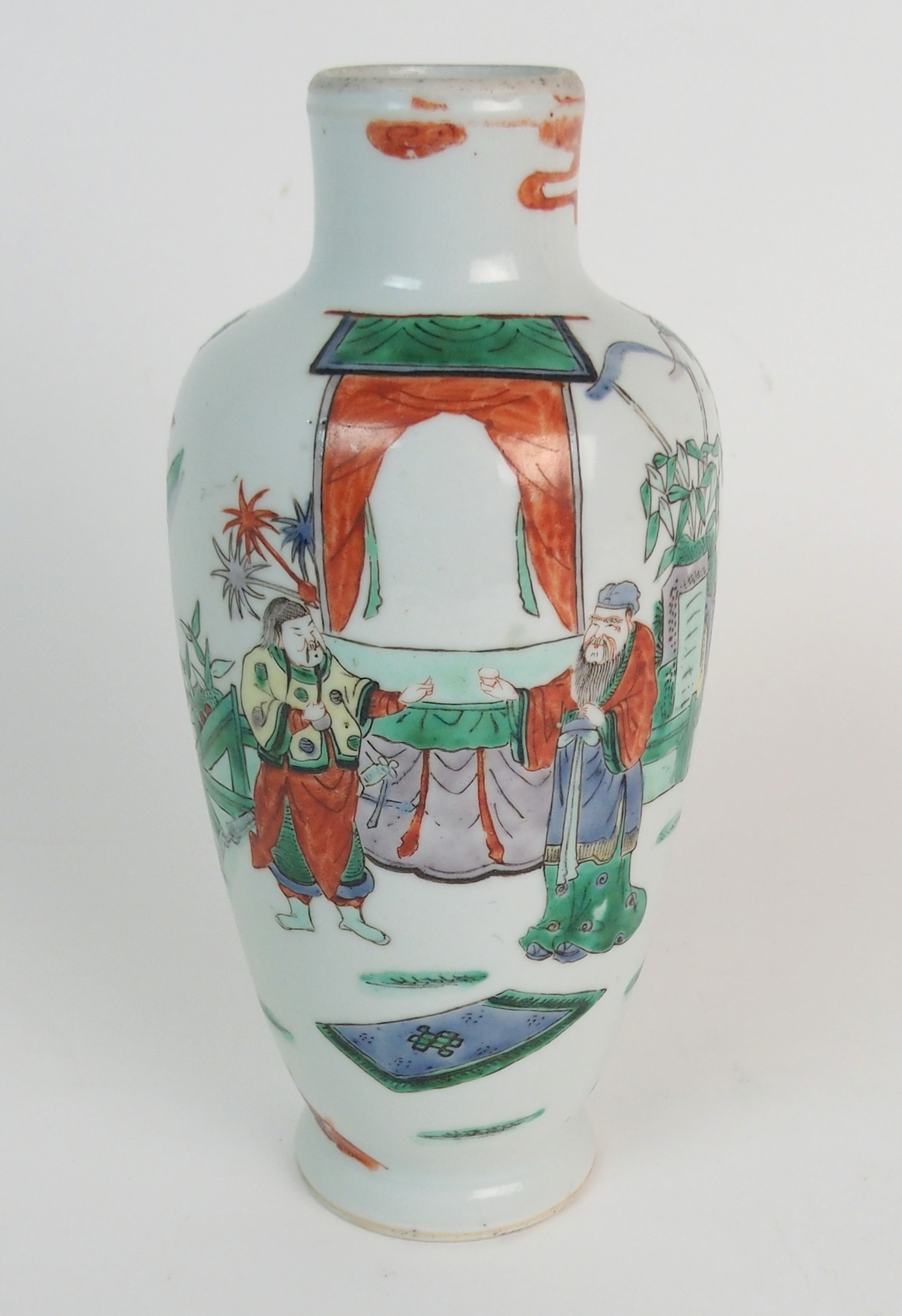 Lot 32 - A CHINESE WUCAI BALUSTER VASE painted with noblemen and attendants in a garden, 23cm high
