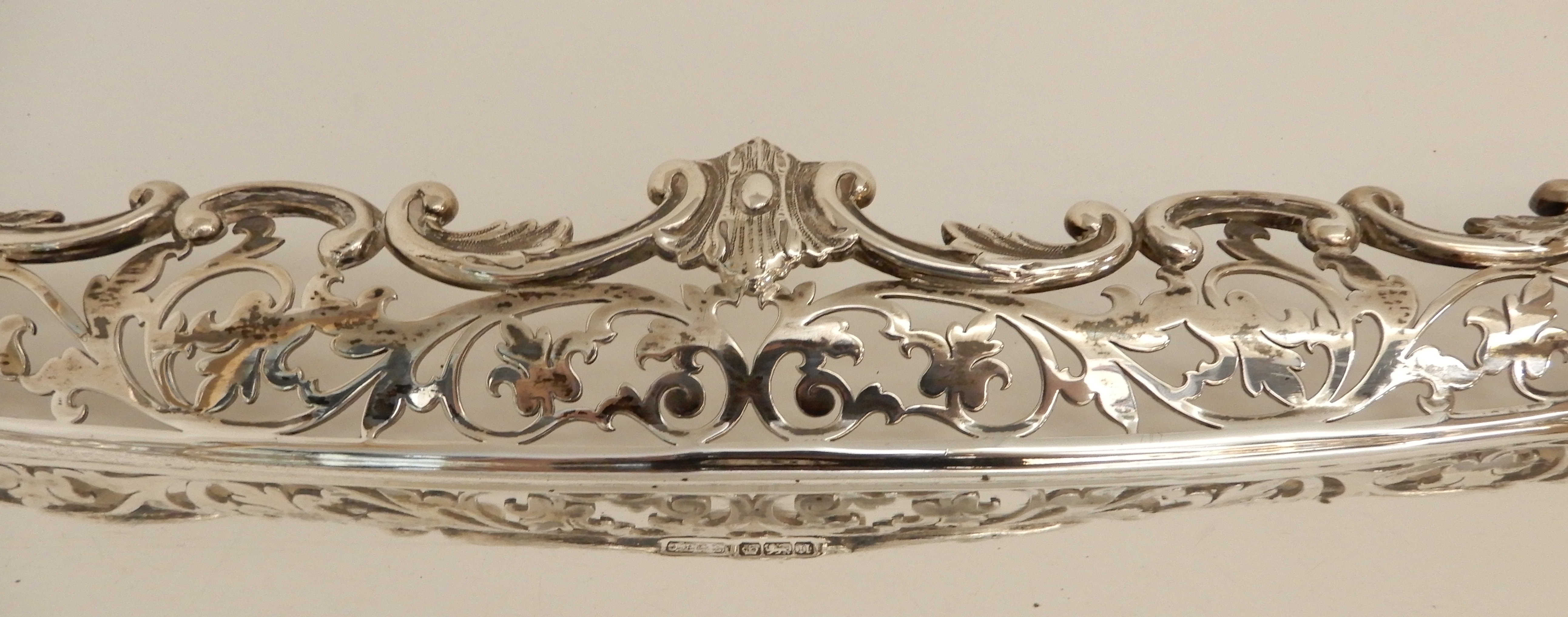 Lot 163 - A LARGE SILVER SERVING TRAY by James Ballantyne & Son, Sheffield 1905, of rectangular form with