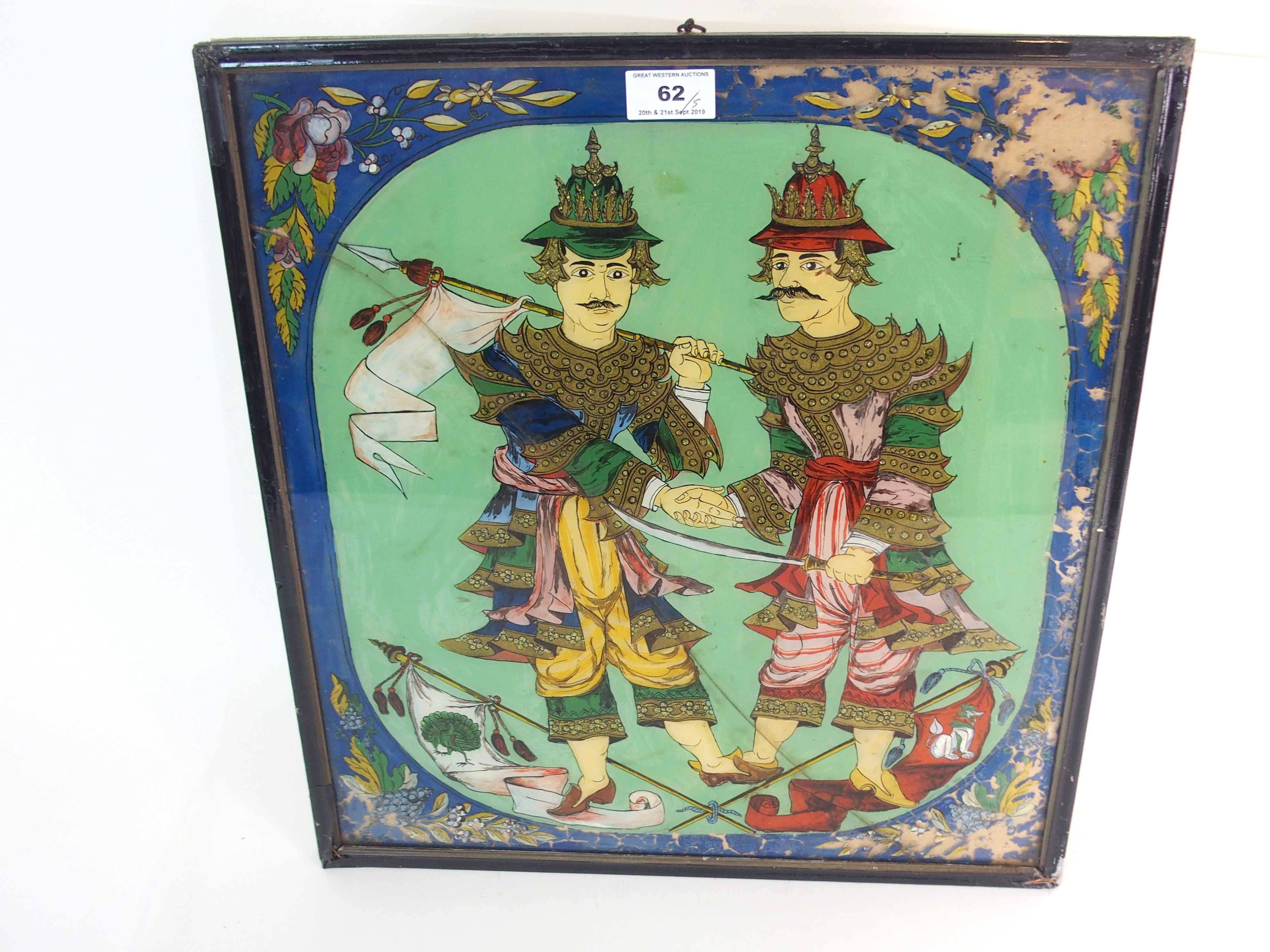 Lot 62 - FIVE BURMESE REVERSE PAINTED PANELS depicting military figures, 45 x 40cm, noble ladies with