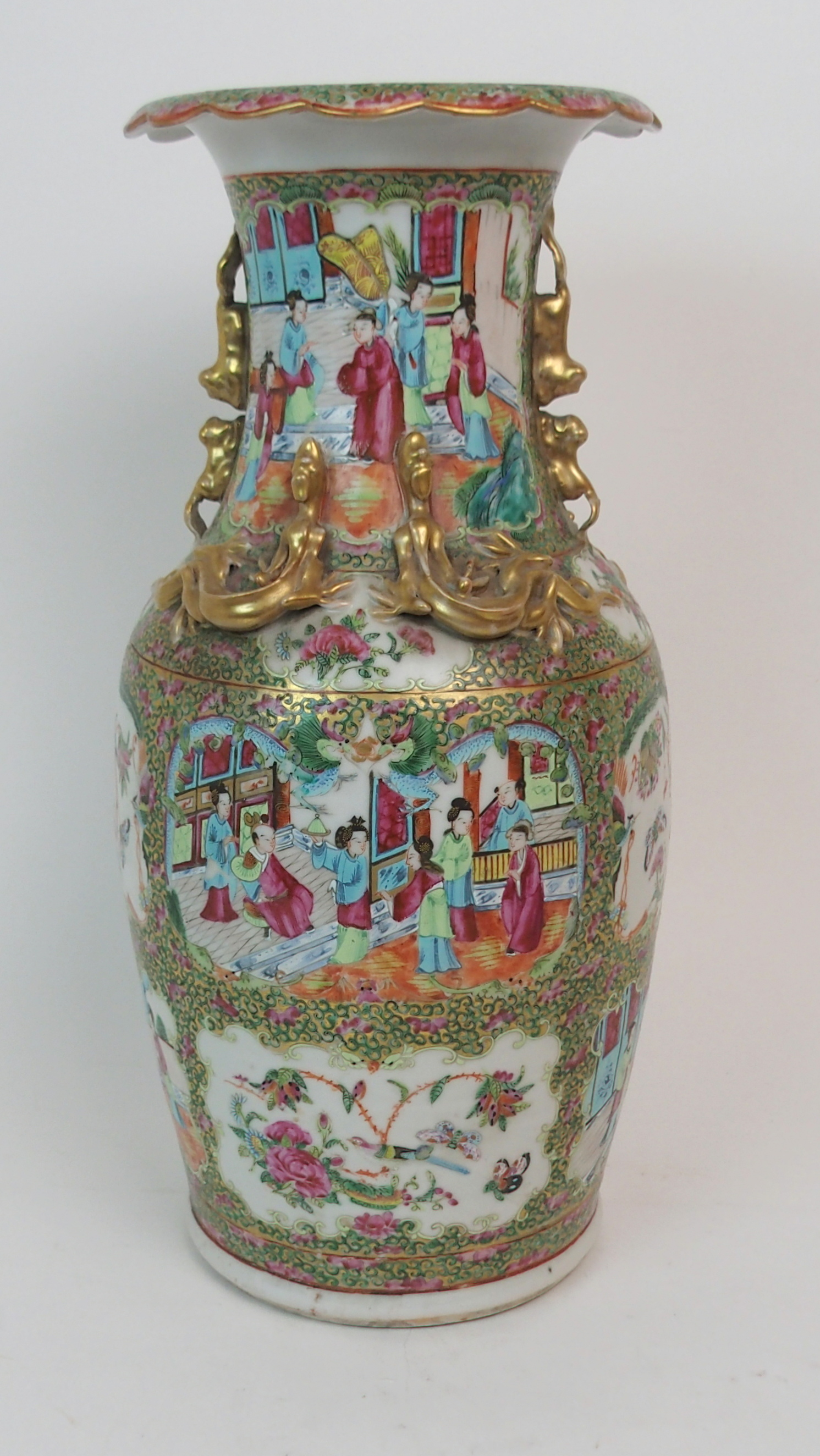 Lot 56 - A CANTONESE BALUSTER VASE painted with panels of figures on balconies, birds, flowers and insects