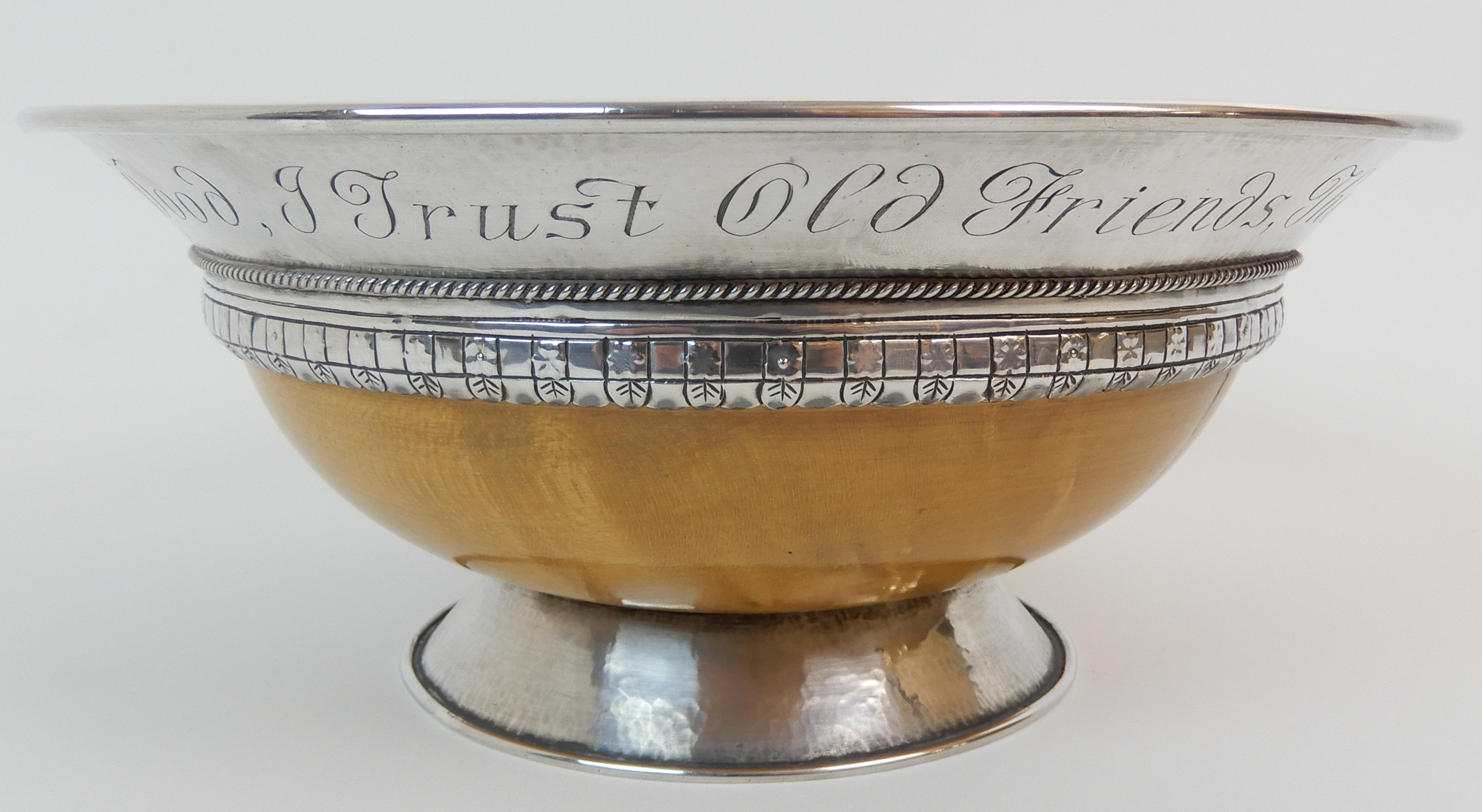 Lot 142 - AN ARTS AND CRAFTS SILVER MOUNTED TREEN BOWL by Elizabeth Henry Kirkwood, Edinburgh 1947, or