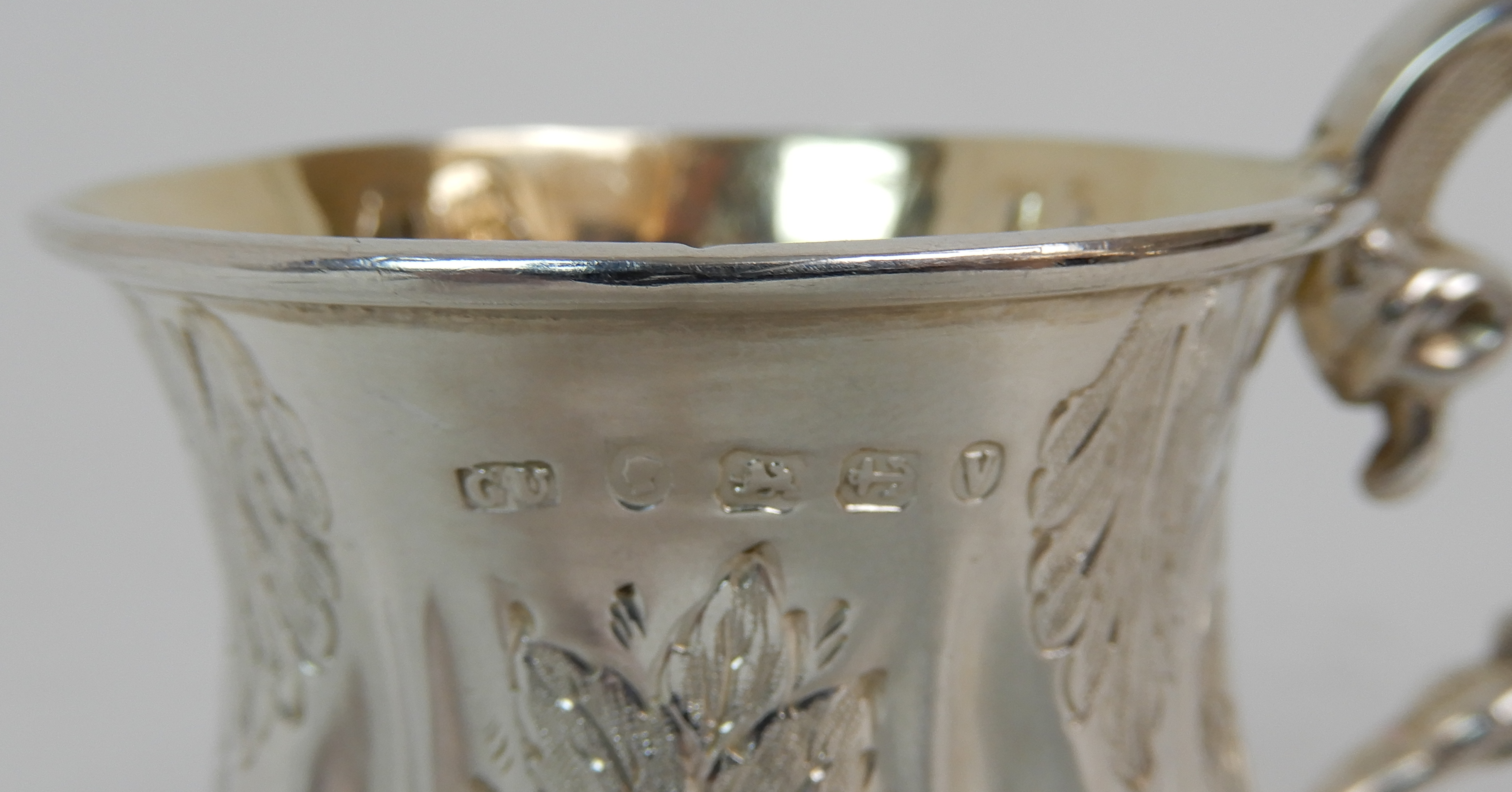 Lot 158 - A VICTORIAN SILVER CHRISTENING MUG by George Unite, Birmingham 1870, of baluster shape, the body