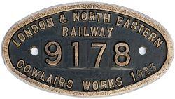 Worksplate 9x5 LONDON & NORTH EASTERN RAILWAY 9178 COWLAIRS WORKS 1923 ex N15 Reid 0-6-2 T