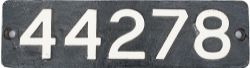 Smokebox numberplate 44278 ex MR/LMS Fowler 4F 0-6-0 built at Derby in 1926. Allocations included
