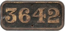 GWR cast iron cabside numberplate 3642 ex GWR Collett 0-6-0 PT built at Swindon in 1939. Sheds