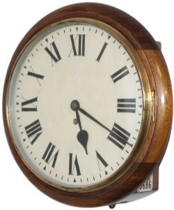 Great Western Railway 12in oak cased railway clock with a wire driven English fusee movement. The
