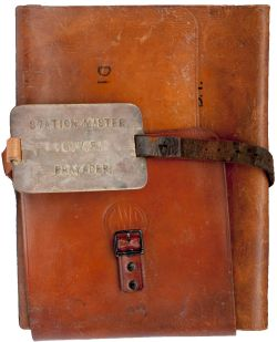 GWR leather document pouch nicely embossed with two GWR Roundels to the front and complete with