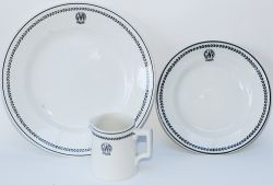GWR Black Leaf china x3 consisting of: Milk Jug, 3in tall, base marked Bridgwood; Side Plate, 6.75in