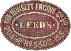 Diesel worksplate THE HUNSLET ENGINE CO LTD LEEDS 204HP No 5303 1958. ex Standard gauge 0-6-0 with a