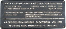 Diesel manufacturers plate ex British Railways Class 28 D5709. Rectangular cast brass measuring 12in