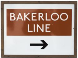London Transport enamel underground sign BAKERLOO LINE with right facing arrow. Complete with