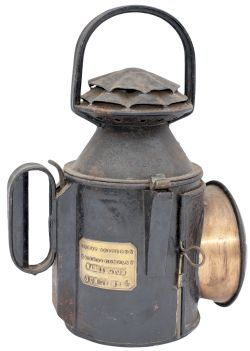 Great Northern Railway 3 Aspect handlamp, large double pie crust type. Stamped in the reducing