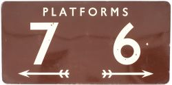 BR(W) FF enamel sign PLATFORMS 6 7 with arrows underneath. In very good condition with minor