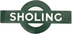 Southern Railway enamel target station sign SHOLING from the London and South Western Railway